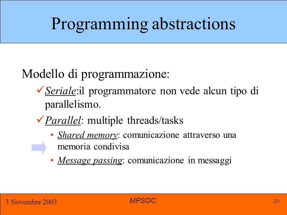 MPSOC 3 Novembre 2003 20 Programming abstractions Modello di programmazione: Seriale:il programmatore non vede alcun tipo di parallelismo.