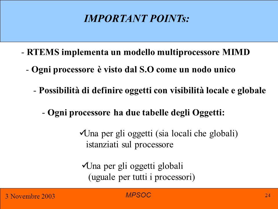 MPSOC 3 Novembre 2003 24 IMPORTANT POINTs: - RTEMS implementa un modello multiprocessore MIMD - Ogni processore è visto dal S.O come un nodo unico - Possibilità di definire oggetti con visibilità locale e globale - Ogni processore ha due tabelle degli Oggetti: Una per gli oggetti (sia locali che globali) istanziati sul processore Una per gli oggetti globali (uguale per tutti i processori)