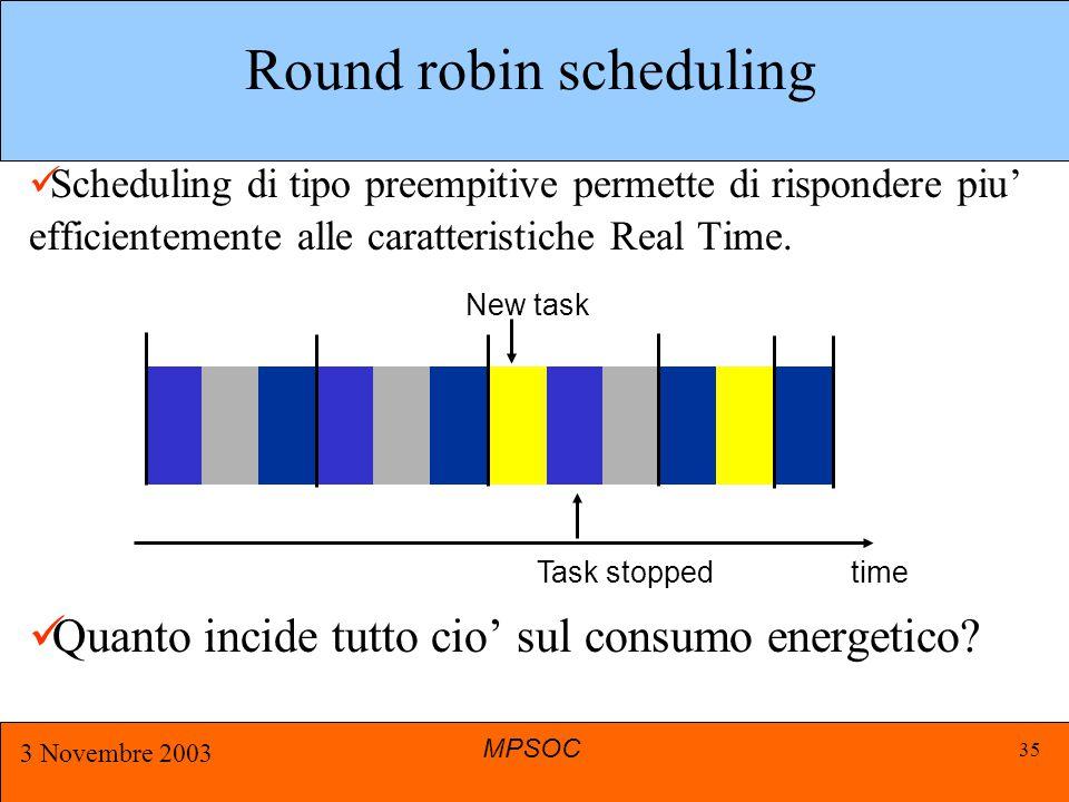 MPSOC 3 Novembre 2003 35 Round robin scheduling Scheduling di tipo preempitive permette di rispondere piu' efficientemente alle caratteristiche Real Time.