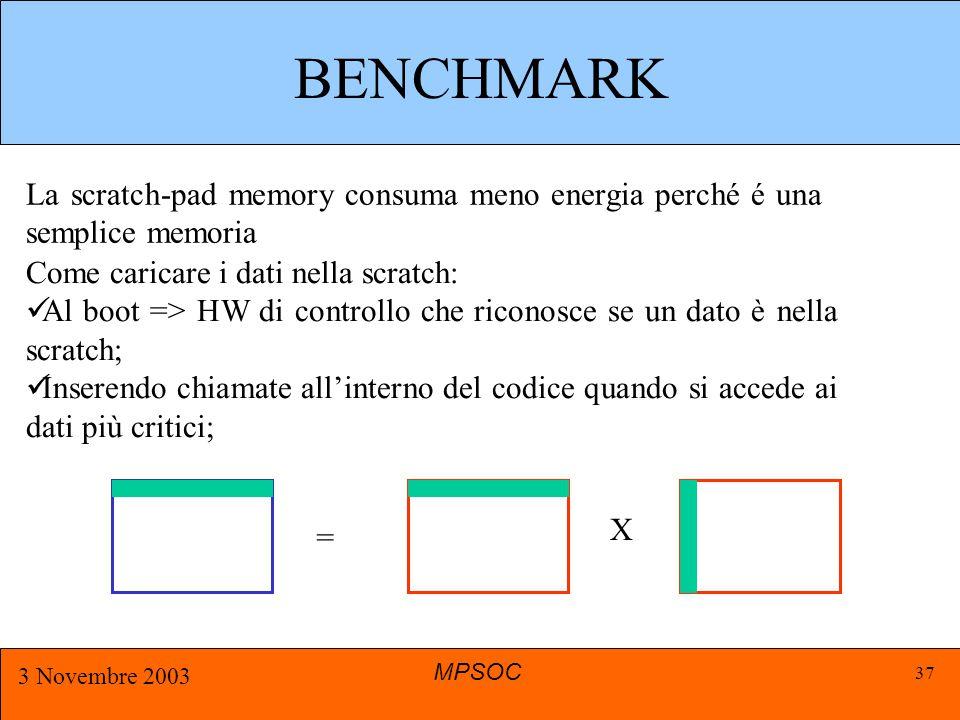 MPSOC 3 Novembre 2003 37 BENCHMARK La scratch-pad memory consuma meno energia perché é una semplice memoria Come caricare i dati nella scratch: Al boot => HW di controllo che riconosce se un dato è nella scratch; Inserendo chiamate all'interno del codice quando si accede ai dati più critici; X =