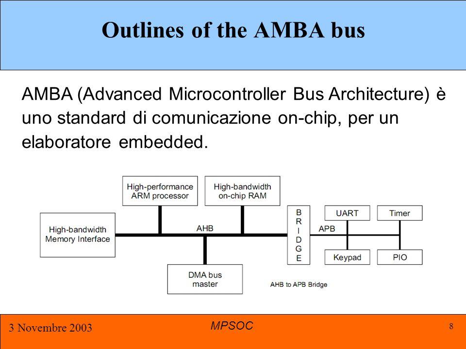 MPSOC 3 Novembre 2003 9 Master per accedere al bus deve richiederne l'utilizzo all'arbitro.