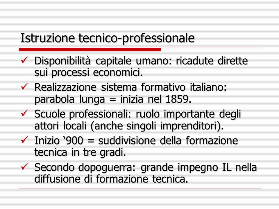 Istruzione tecnico-professionale Disponibilità capitale umano: ricadute dirette sui processi economici.