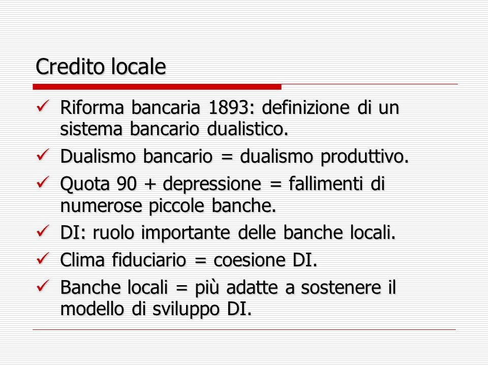 Credito locale Riforma bancaria 1893: definizione di un sistema bancario dualistico.