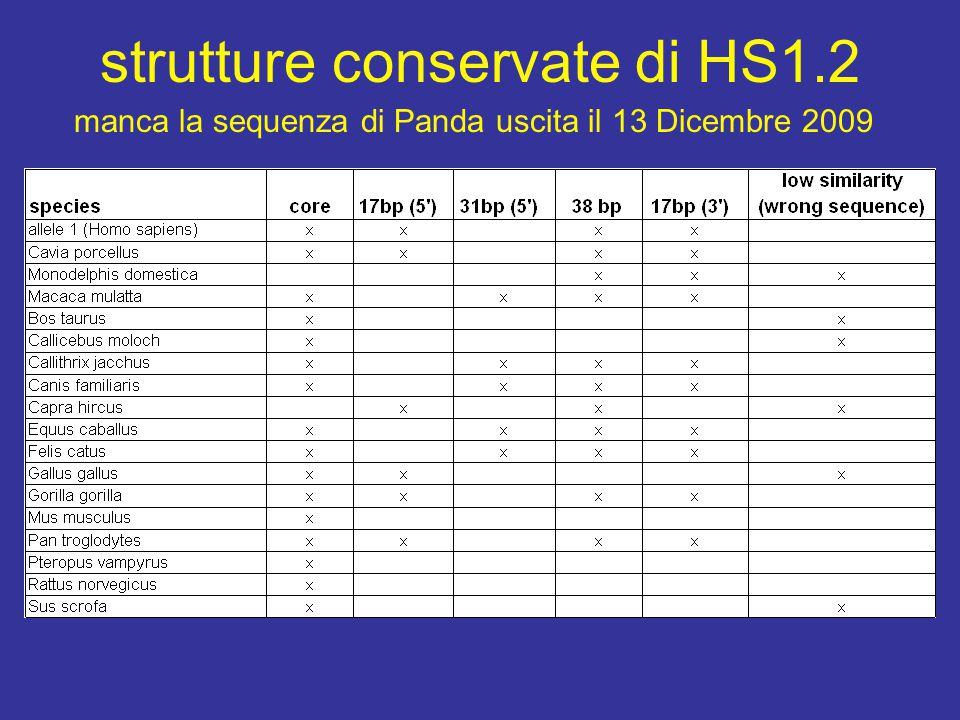 strutture conservate di HS1.2 manca la sequenza di Panda uscita il 13 Dicembre 2009