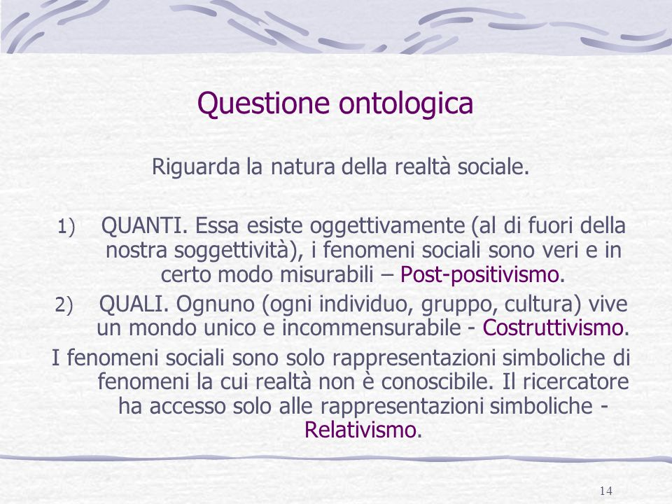 14 Questione ontologica Riguarda la natura della realtà sociale. 1) QUANTI. Essa esiste oggettivamente (al di fuori della nostra soggettività), i feno