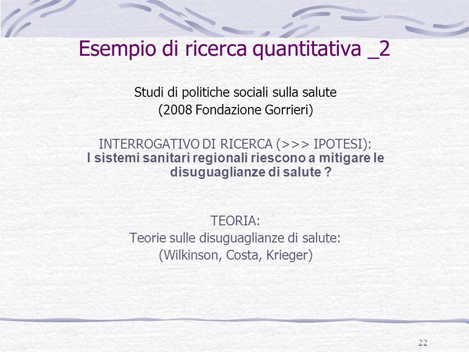 22 Esempio di ricerca quantitativa _2 Studi di politiche sociali sulla salute (2008 Fondazione Gorrieri) INTERROGATIVO DI RICERCA (>>> IPOTESI): I sis