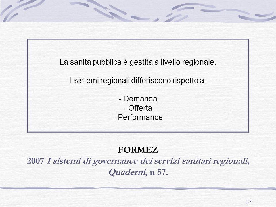 25 La sanità pubblica è gestita a livello regionale. I sistemi regionali differiscono rispetto a: - Domanda - Offerta - Performance FORMEZ 2007 I sist