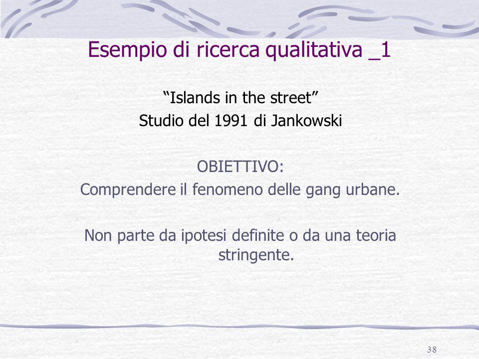 """38 Esempio di ricerca qualitativa _1 """"Islands in the street"""" Studio del 1991 di Jankowski OBIETTIVO: Comprendere il fenomeno delle gang urbane. Non pa"""
