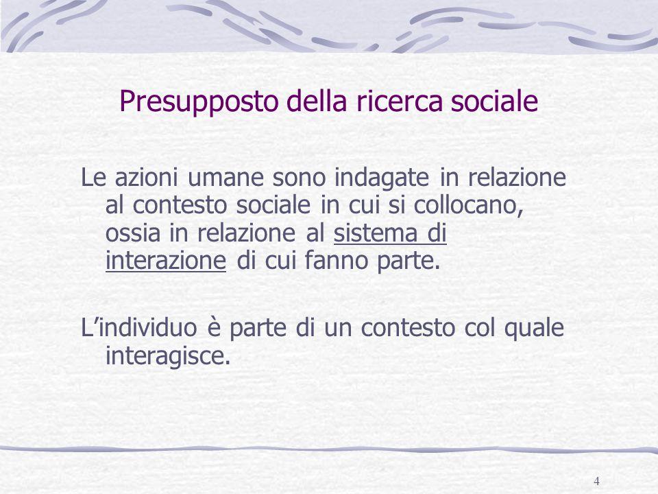 4 Presupposto della ricerca sociale Le azioni umane sono indagate in relazione al contesto sociale in cui si collocano, ossia in relazione al sistema