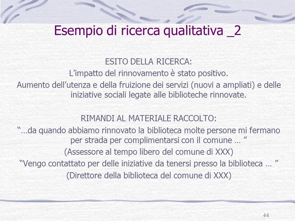 44 Esempio di ricerca qualitativa _2 ESITO DELLA RICERCA: L'impatto del rinnovamento è stato positivo. Aumento dell'utenza e della fruizione dei servi