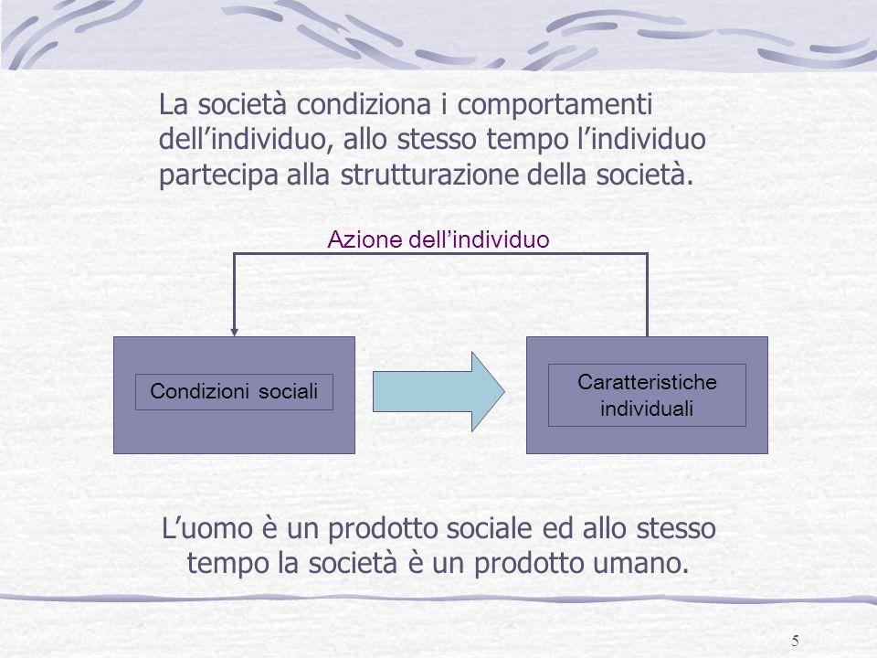 5 Azione dell'individuo Caratteristiche individuali Condizioni sociali La società condiziona i comportamenti dell'individuo, allo stesso tempo l'indiv
