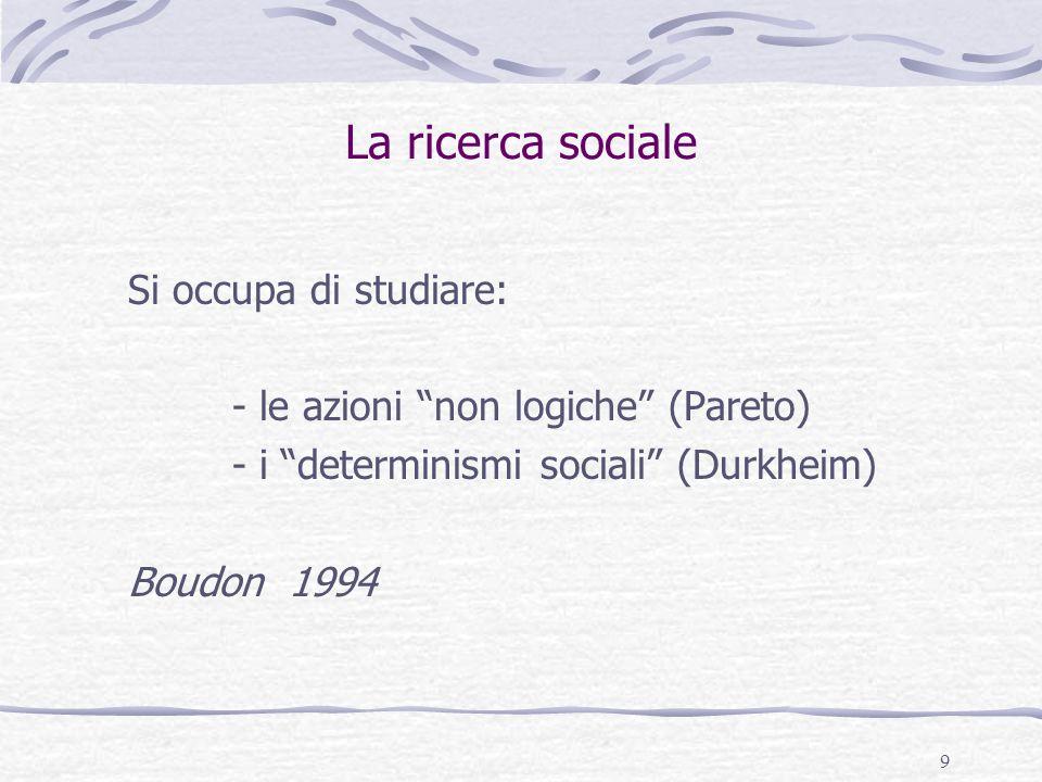 """9 La ricerca sociale Si occupa di studiare: - le azioni """"non logiche"""" (Pareto) - i """"determinismi sociali"""" (Durkheim) Boudon 1994"""