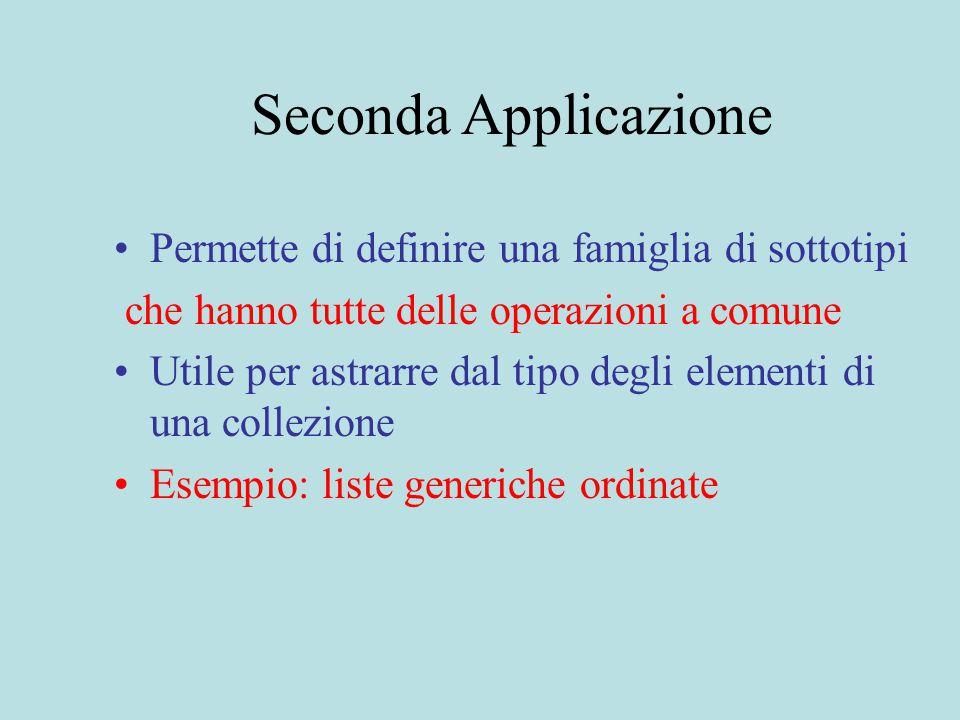 Seconda Applicazione Permette di definire una famiglia di sottotipi che hanno tutte delle operazioni a comune Utile per astrarre dal tipo degli elementi di una collezione Esempio: liste generiche ordinate