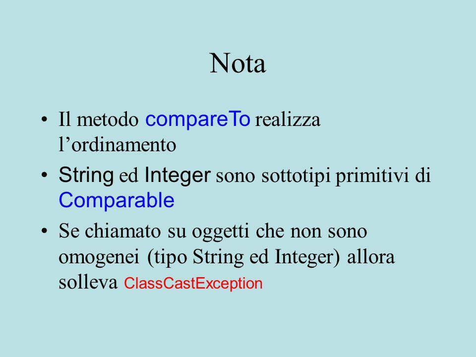 Nota Il metodo compareTo realizza l'ordinamento String ed Integer sono sottotipi primitivi di Comparable Se chiamato su oggetti che non sono omogenei (tipo String ed Integer) allora solleva ClassCastException