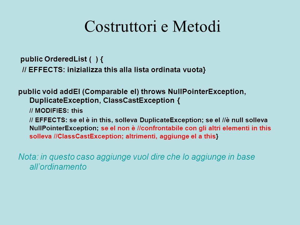 Costruttori e Metodi public OrderedList ( ) { // EFFECTS: inizializza this alla lista ordinata vuota} public void addEl (Comparable el) throws NullPointerException, DuplicateException, ClassCastException { // MODIFIES: this // EFFECTS: se el è in this, solleva DuplicateException; se el //è null solleva NuIlPointerException; se el non è //confrontabile con gli altri elementi in this solleva //ClassCastException; altrimenti, aggiunge el a this} Nota: in questo caso aggiunge vuol dire che lo aggiunge in base all'ordinamento