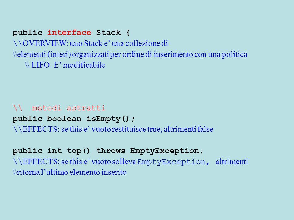 public interface Stack { \\ OVERVIEW: uno Stack e' una collezione di \\elementi (interi) organizzati per ordine di inserimento con una politica \\ LIFO.