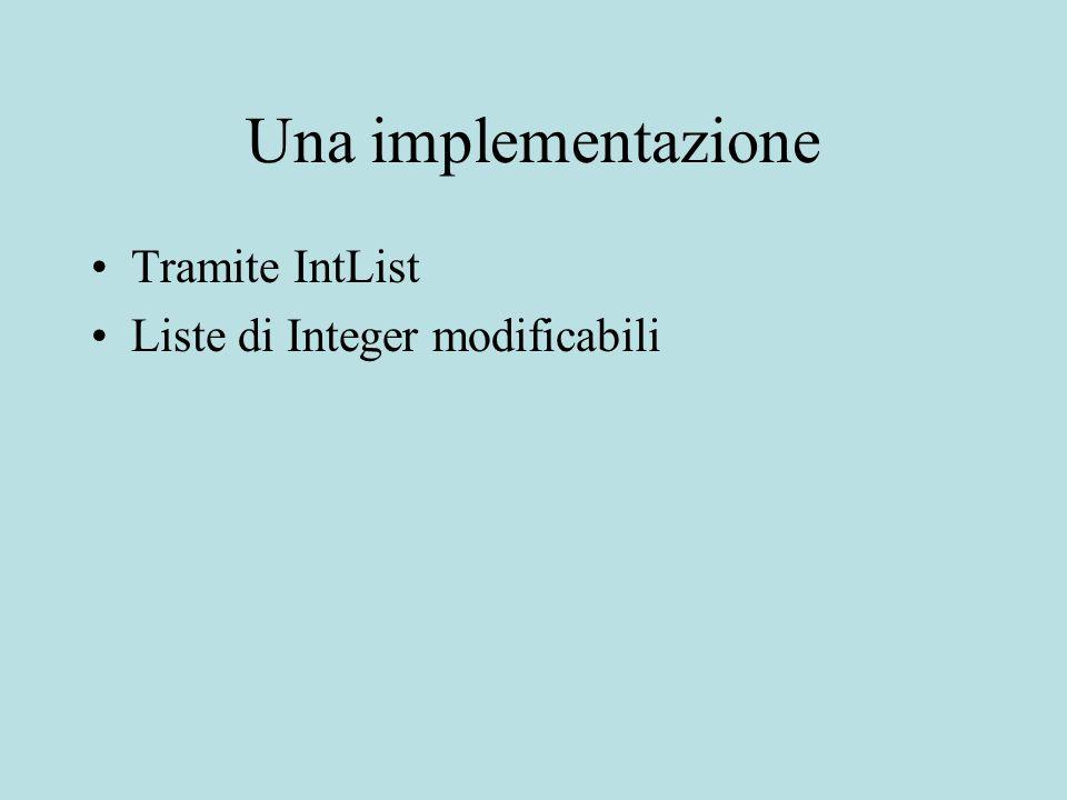 Una implementazione Tramite IntList Liste di Integer modificabili