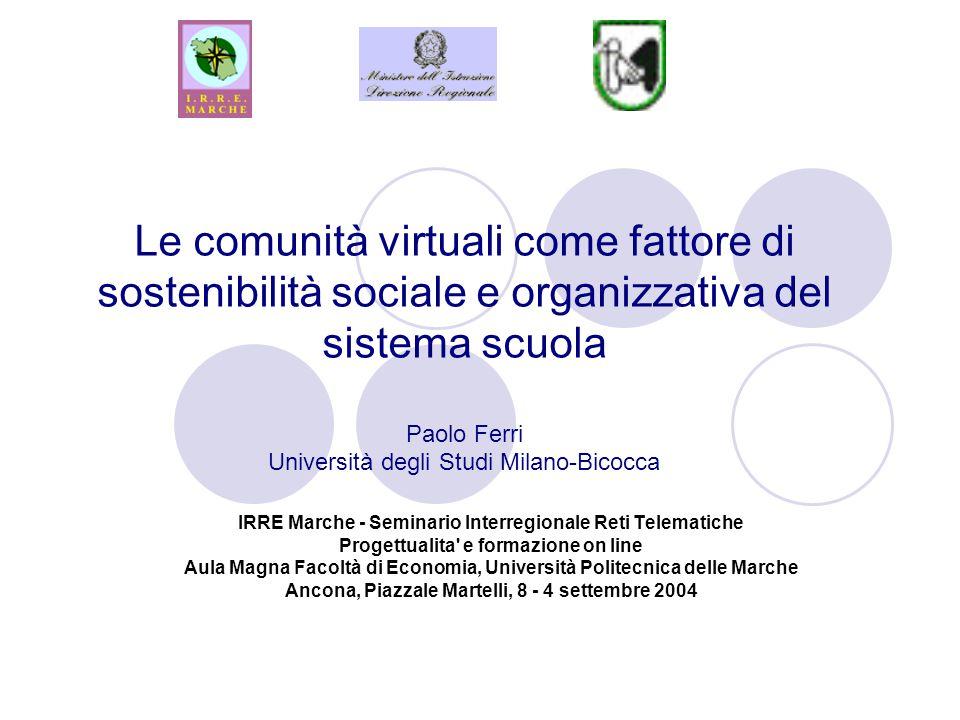 Le comunità virtuali come fattore di sostenibilità sociale e organizzativa del sistema scuola Paolo Ferri Università degli Studi Milano-Bicocca IRRE M