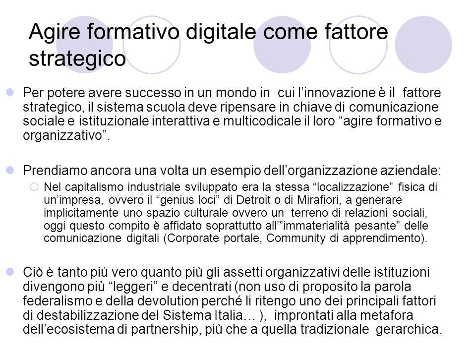 Agire formativo digitale come fattore strategico Per potere avere successo in un mondo in cui l'innovazione è il fattore strategico, il sistema scuola