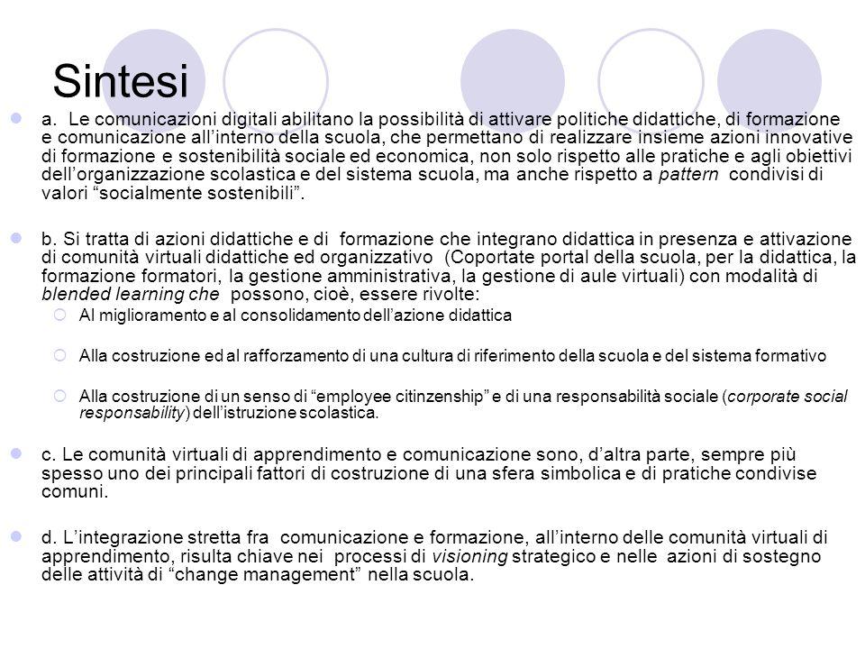 Sintesi a. Le comunicazioni digitali abilitano la possibilità di attivare politiche didattiche, di formazione e comunicazione all'interno della scuola