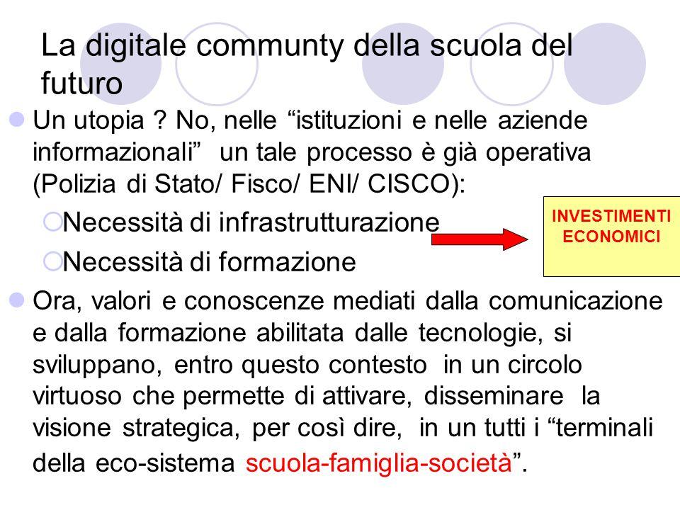 """La digitale communty della scuola del futuro Un utopia ? No, nelle """"istituzioni e nelle aziende informazionali"""" un tale processo è già operativa (Poli"""