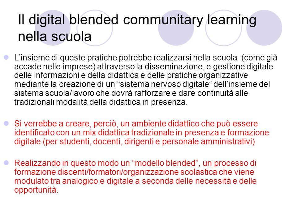 Il digital blended communitary learning nella scuola L'insieme di queste pratiche potrebbe realizzarsi nella scuola (come già accade nelle imprese) at