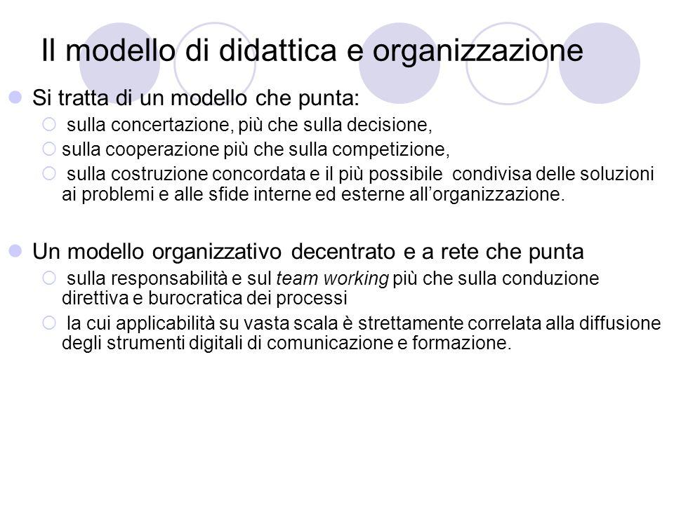 Il modello di didattica e organizzazione Si tratta di un modello che punta:  sulla concertazione, più che sulla decisione,  sulla cooperazione più c