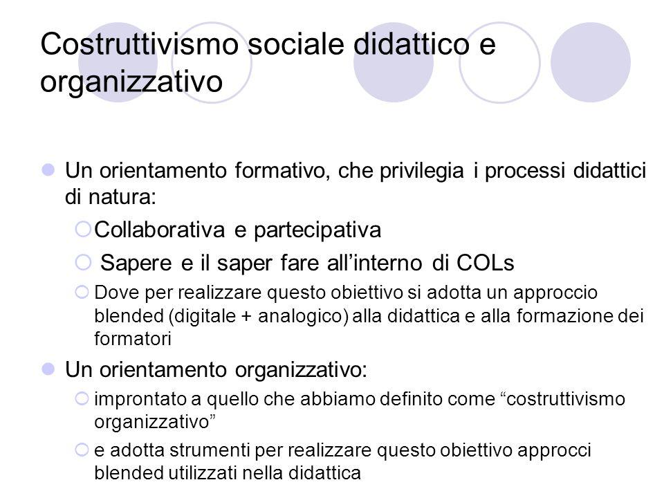 Costruttivismo sociale didattico e organizzativo Un orientamento formativo, che privilegia i processi didattici di natura:  Collaborativa e partecipa