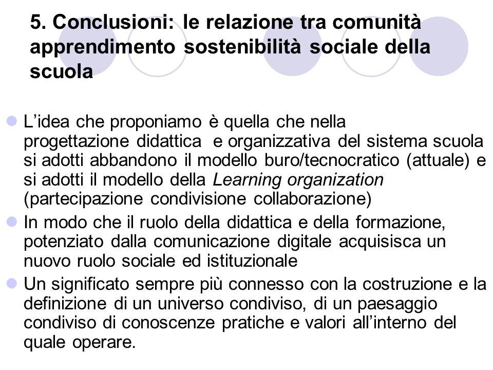 5. Conclusioni: le relazione tra comunità apprendimento sostenibilità sociale della scuola L'idea che proponiamo è quella che nella progettazione dida