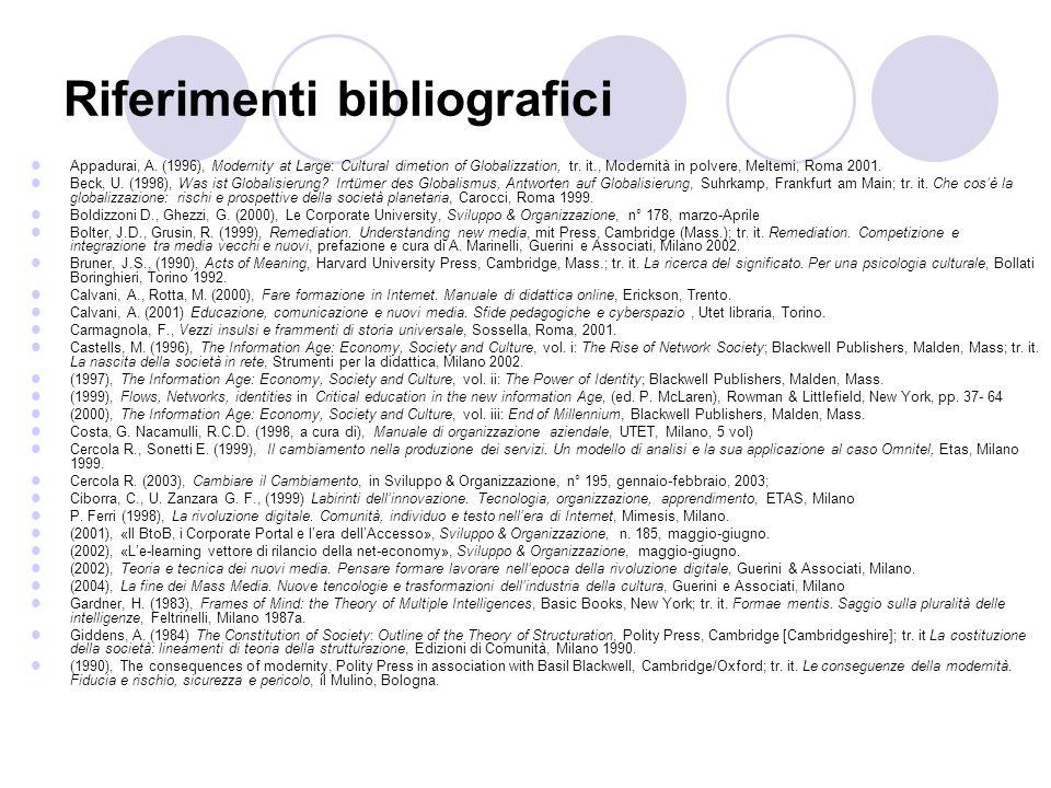 Riferimenti bibliografici Appadurai, A. (1996), Modernity at Large: Cultural dimetion of Globalizzation, tr. it., Modernità in polvere, Meltemi, Roma