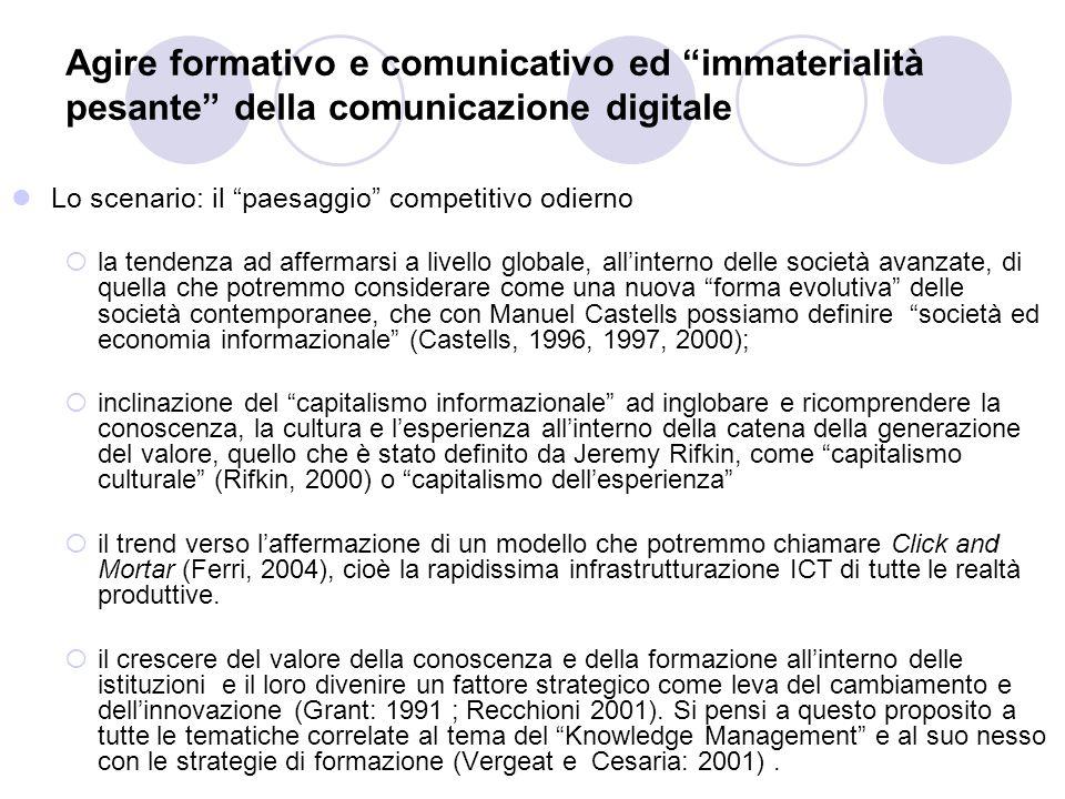 Comunità virtuali/reali di apprendimento della scuola come fattore di innovazione della società Se si realizzano queste condizione allora il sistema scuola si troverebbe in una situazione nella quale:  l' agire didattico e formativo , intendendo come formazione un approccio attivo che deriva dalle metodologie dell'attivismo pedagogico (Dewey, 1932) e del costruttivismo sociale (Bruner:1990, Papert: 1980, 1993, 1999, Gardner 1983);  l' agire comunicativo verso le famiglie e la società (Habermas, 1981; Iivarj, 2000; Lyytinen, 1999);  l' agire organizzativo , inteso come ottimizzazione delle risorse e delle strutture Verrebbero a costituire grazie alle tecnologie digitali della formazione un circolo virtuoso per rilanciare il ruolo della sistema scuola pubblica all'interno della società contemporanea in termini di:  Innovazione e iniezione di innovazione rispetto al sistema socio-economico  Diffusione e disseminazione dei valori positivi di cittadinanza attiva democratica  Preparazione di professionalità che possano colmare il gap competitivo del sistema Italia (ultimo posto per Innovazione nell''UE dati Agosto 2004 Commissione Europea)