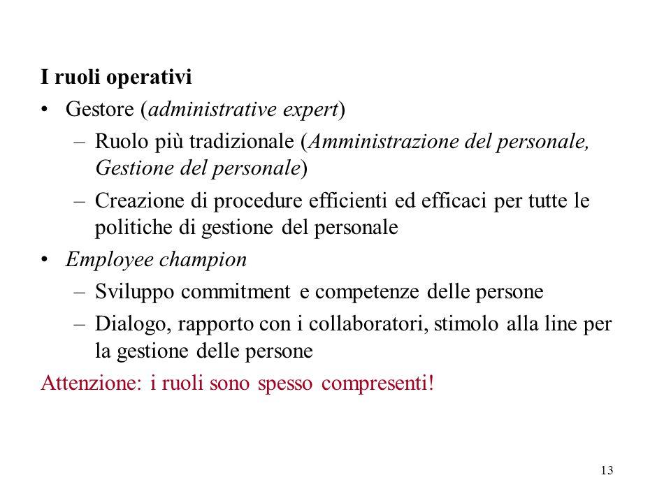 13 I ruoli operativi Gestore (administrative expert) –Ruolo più tradizionale (Amministrazione del personale, Gestione del personale) –Creazione di pro