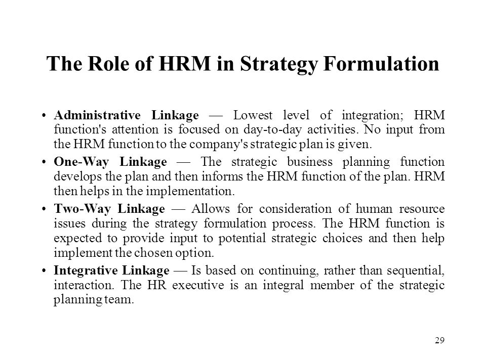 29 The Role of HRM in Strategy Formulation Administrative Linkage — Lowest level of integration; HRM function's attention is focused on day-to-day act