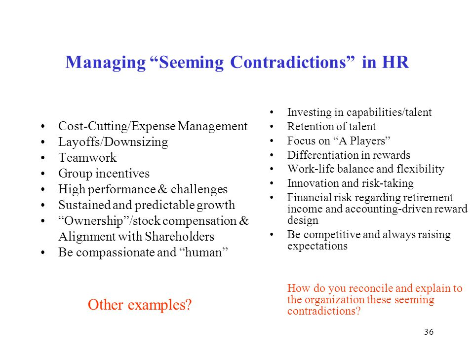 "36 Managing ""Seeming Contradictions"" in HR Cost-Cutting/Expense Management Layoffs/Downsizing Teamwork Group incentives High performance & challenges"