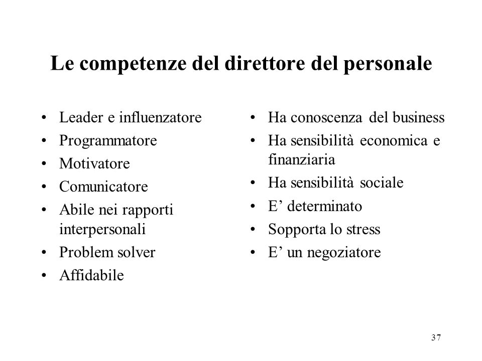 37 Leader e influenzatore Programmatore Motivatore Comunicatore Abile nei rapporti interpersonali Problem solver Affidabile Ha conoscenza del business
