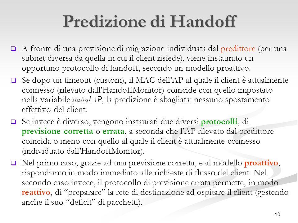 10 Predizione di Handoff   A fronte di una previsione di migrazione individuata dal predittore (per una subnet diversa da quella in cui il client risiede), viene instaurato un opportuno protocollo di handoff, secondo un modello proattivo.
