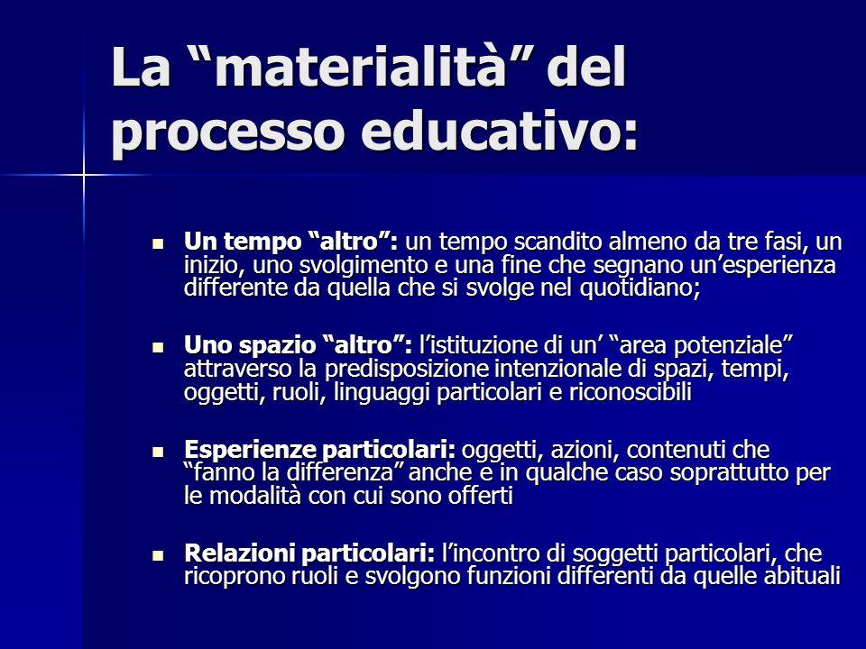 """La """"materialità"""" del processo educativo: Un tempo """"altro"""": un tempo scandito almeno da tre fasi, un inizio, uno svolgimento e una fine che segnano un'"""