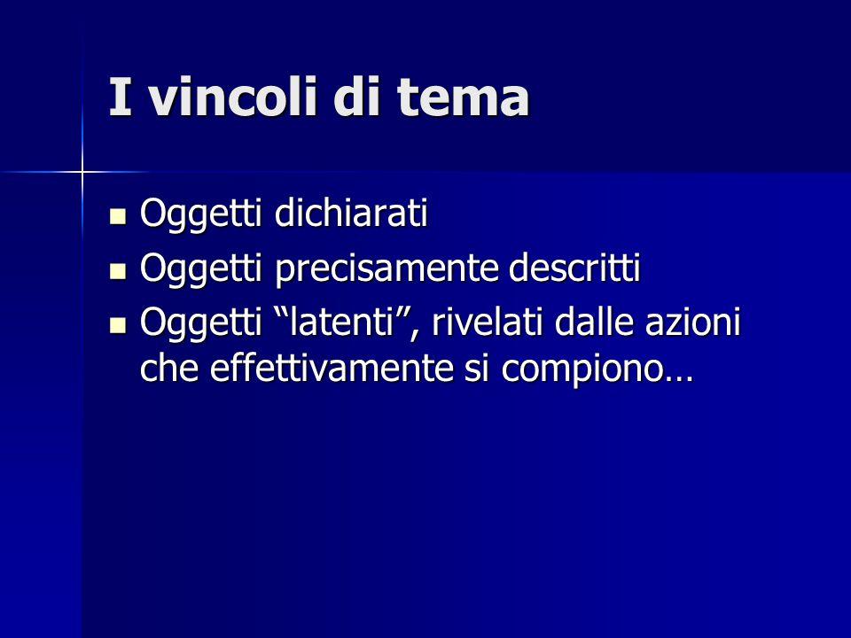 """I vincoli di tema Oggetti dichiarati Oggetti dichiarati Oggetti precisamente descritti Oggetti precisamente descritti Oggetti """"latenti"""", rivelati dall"""