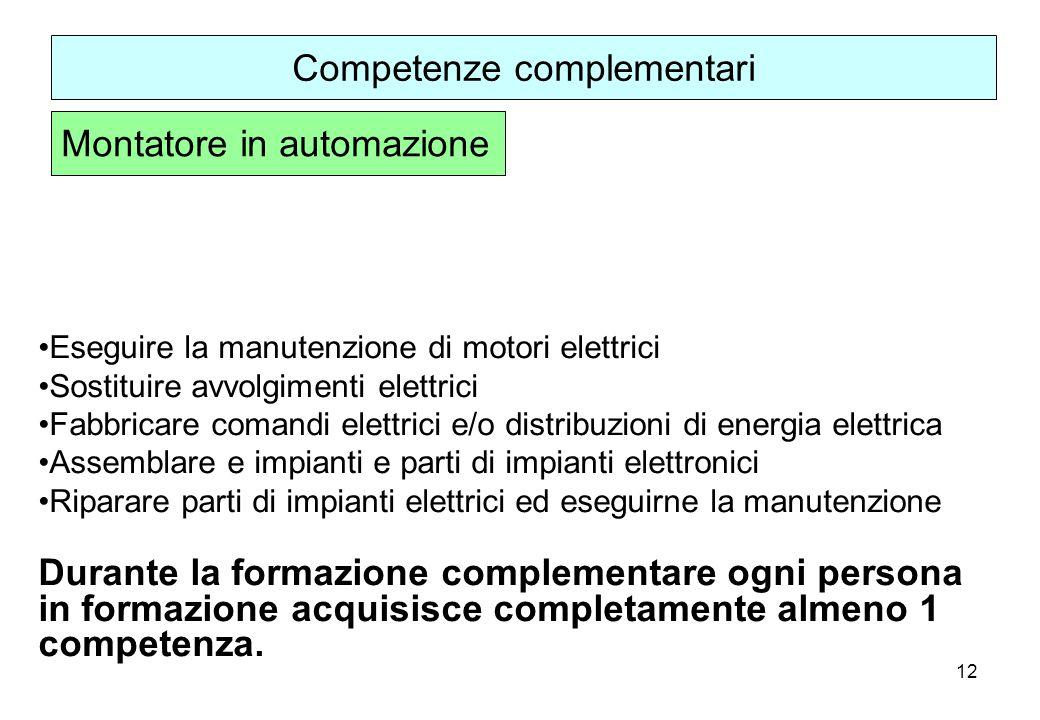 12 Eseguire la manutenzione di motori elettrici Sostituire avvolgimenti elettrici Fabbricare comandi elettrici e/o distribuzioni di energia elettrica