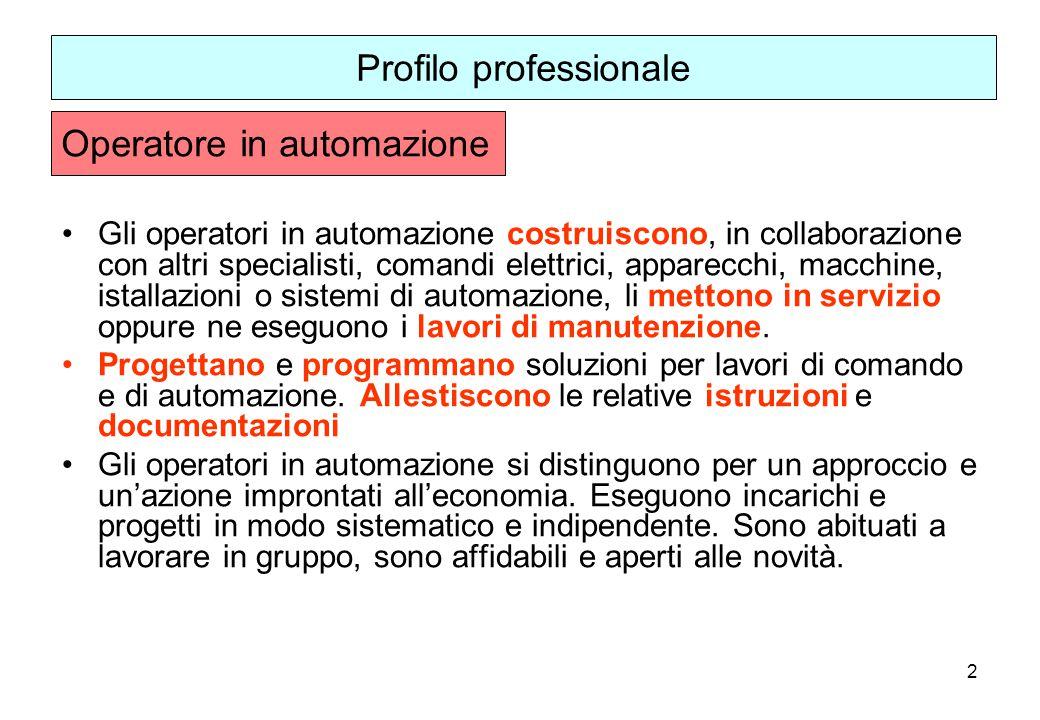 2 Gli operatori in automazione costruiscono, in collaborazione con altri specialisti, comandi elettrici, apparecchi, macchine, istallazioni o sistemi