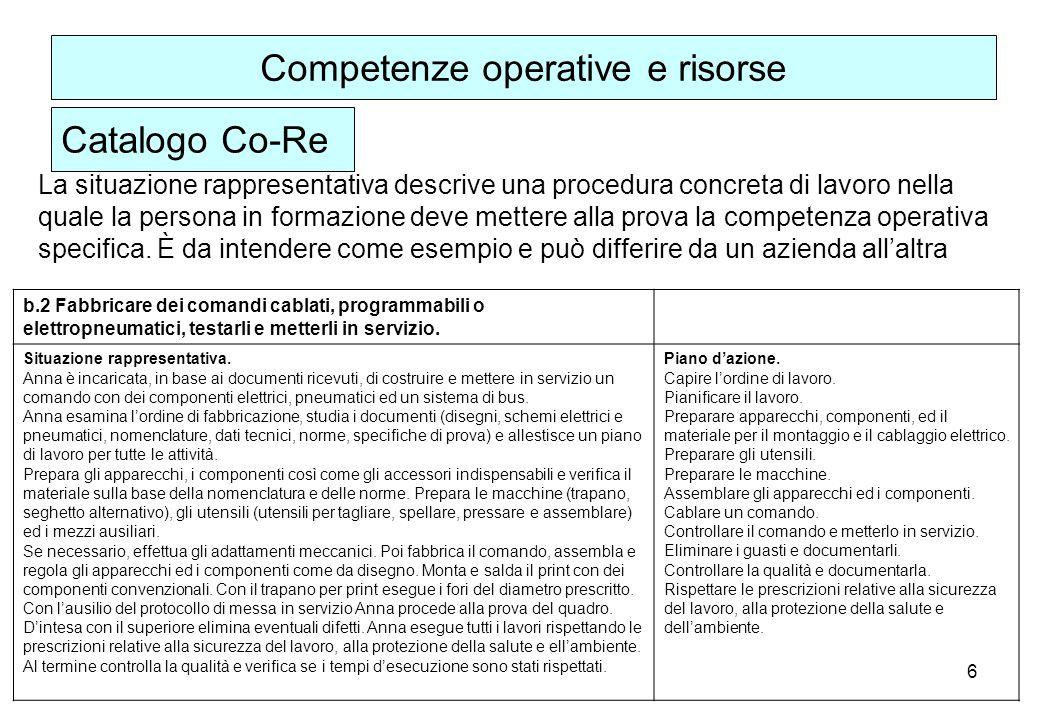 6 La situazione rappresentativa descrive una procedura concreta di lavoro nella quale la persona in formazione deve mettere alla prova la competenza operativa specifica.