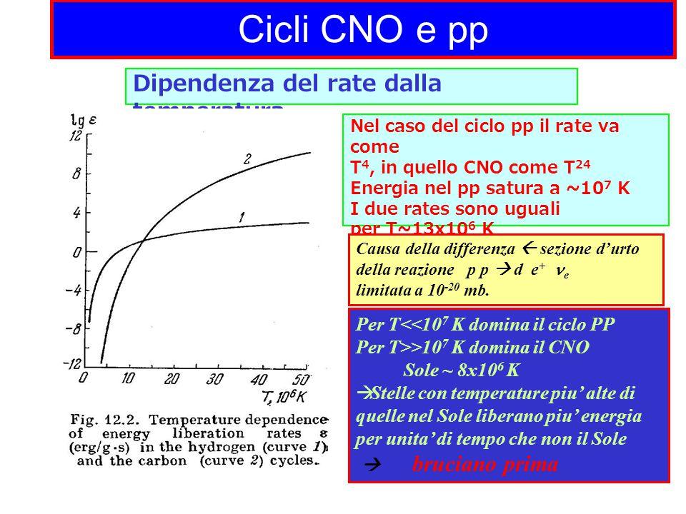 Cicli CNO e pp Dipendenza del rate dalla temperatura Nel caso del ciclo pp il rate va come T 4, in quello CNO come T 24 Energia nel pp satura a ~10 7