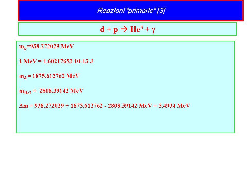 "Reazioni ""primarie"" [3] d + p  He 3 +  m p =938.272029 MeV 1 MeV = 1.60217653 10-13 J m d = 1875.612762 MeV m He3 = 2808.39142 MeV  m = 938.272029"