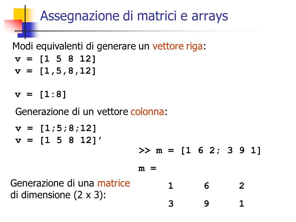 Assegnazione di matrici e arrays Modi equivalenti di generare un vettore riga: v = [1 5 8 12] v = [1,5,8,12] v = [1:8] Generazione di un vettore colonna: v = [1;5;8;12] v = [1 5 8 12]' >> m = [1 6 2; 3 9 1] m = 1 6 2 3 9 1 Generazione di una matrice di dimensione (2 x 3):