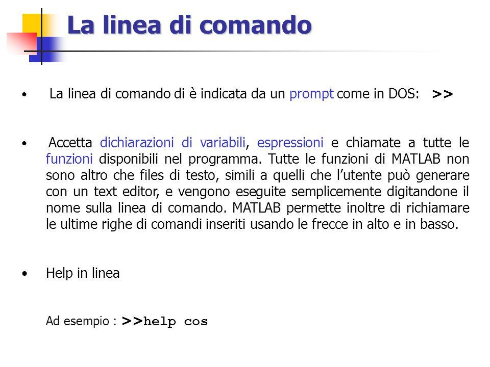 La linea di comando La linea di comando di è indicata da un prompt come in DOS: >> Accetta dichiarazioni di variabili, espressioni e chiamate a tutte le funzioni disponibili nel programma.