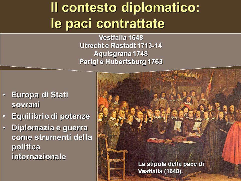 Il contesto diplomatico: le paci contrattate Europa di Stati sovraniEuropa di Stati sovrani Equilibrio di potenzeEquilibrio di potenze Diplomazia e gu
