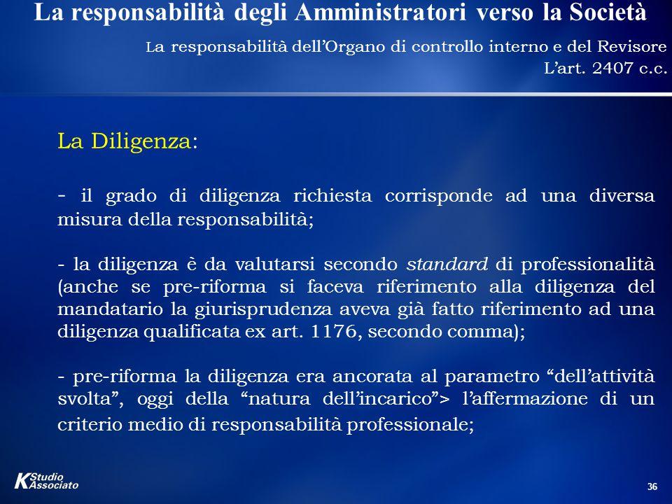 36 La responsabilità degli Amministratori verso la Società L a responsabilità dell'Organo di controllo interno e del Revisore L'art.