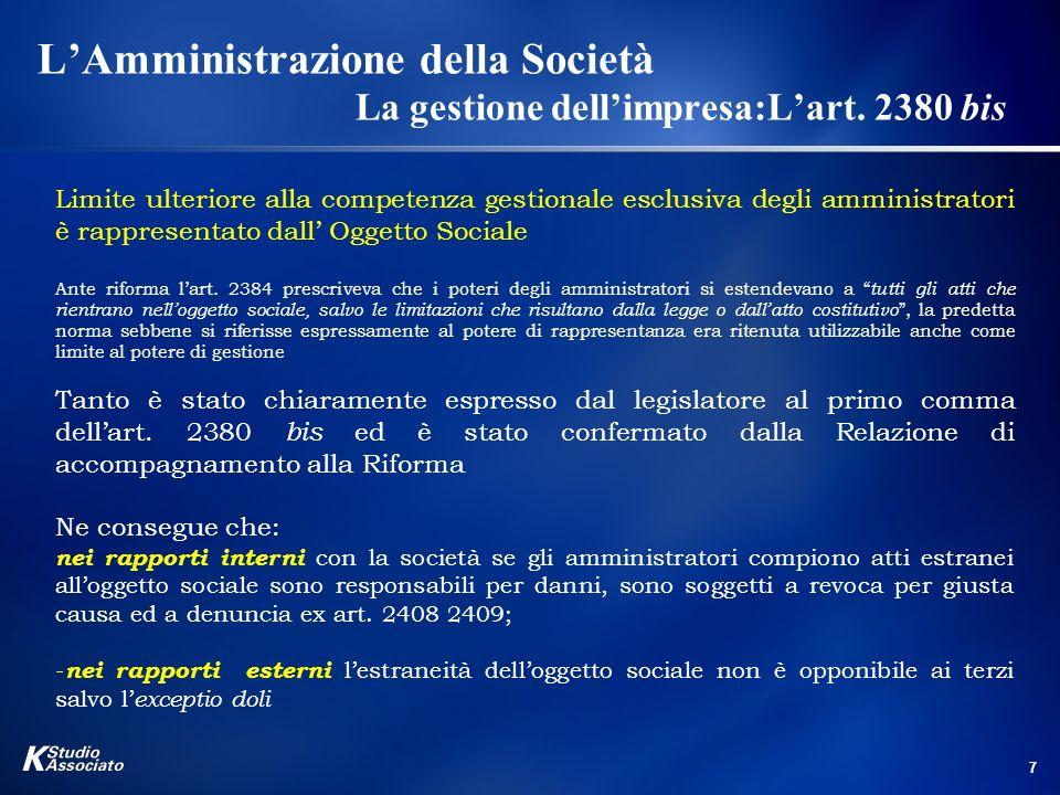 8 L'Amministrazione della Società La gestione dell'impresa: l 'art.