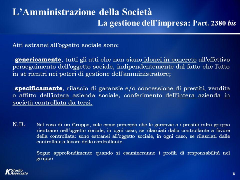 19 L'Amministrazione della Società I Requisiti di onorabilità, professionalità ed indipendenza L'art.