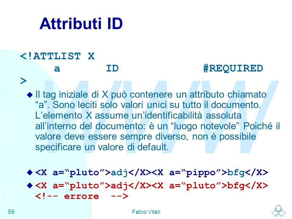 WWW Fabio Vitali59 Attributi ID u Il tag iniziale di X può contenere un attributo chiamato a .